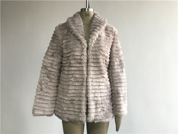 Warm Ladies' Mink Faux Fur Reverse Collar Coat / Faux Fur Jacket TW67737