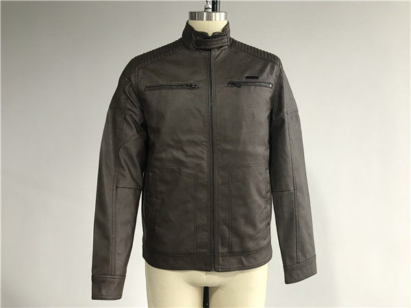 Warmth Mens PU Jacket Chocolate Color , Pleather Biker Jacket TW71195